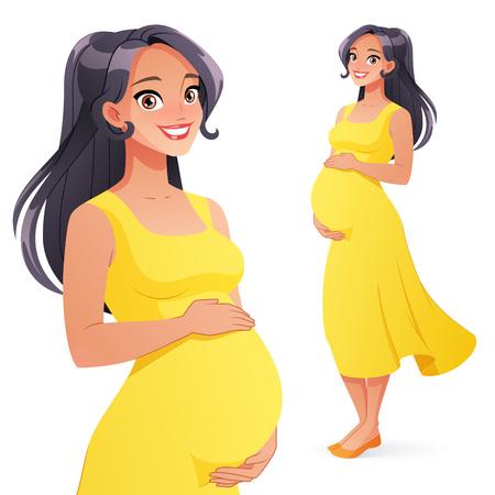 Piękna Azjatycka uśmiechnięta kobieta w ciąży. Pełnej długości styl wektor ilustracja kreskówka na białym tle.