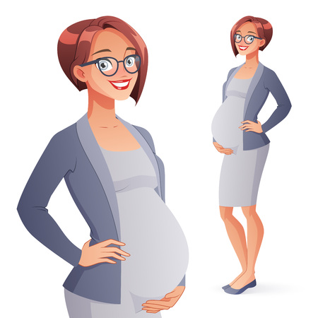 Beautiful smiling pregnant business woman in office outfit. Full length cartoon style vector illustration isolated on white background. Ilustração