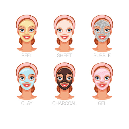 Belle femme avec différents masques cosmétiques faciaux. Ensemble d'illustrations vectorielles isolées sur fond blanc. Vecteurs