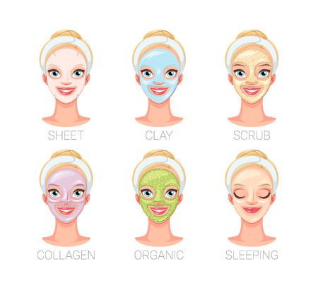 Pretty woman with different skin care facial mask types. Set of vector illustrations isolated on white background. Ilustracja