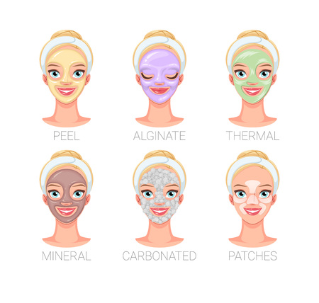 Pretty woman with different skincare facial mask types. Set of vector illustrations isolated on white background.