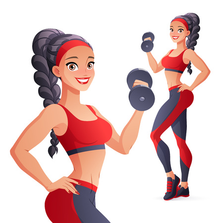 Athletic woman exercising with dumbbell. Isolated vector illustration.