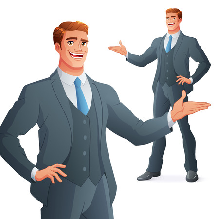 Happy young business man presenting. Full length cartoon style vector illustration isolated on white background. Ilustração