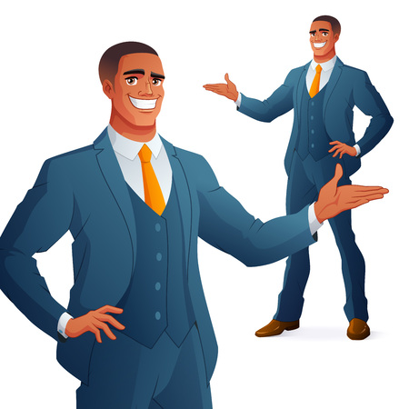 Happy young African business man presenting. Full length cartoon style vector illustration isolated on white background EPS10.