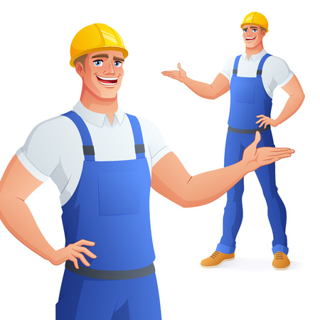 Smiling worker in hard hat presenting. Full length cartoon style vector illustration isolated on white background EPS10.  イラスト・ベクター素材