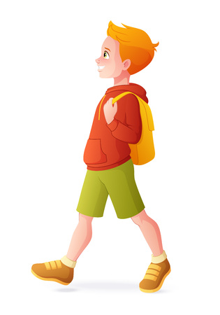 Young redhead boy walking with backpack. Vector illustration isolated on white background.