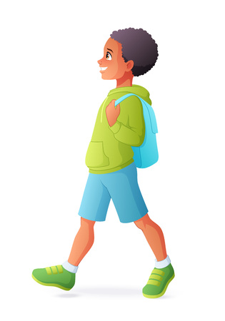 Young African boy walking with backpack. Vector illustration isolated on white background.
