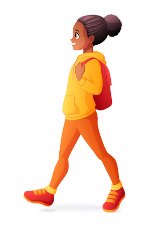 Young cute girl walking with backpack. Vector illustration isolated on white background. Ilustração