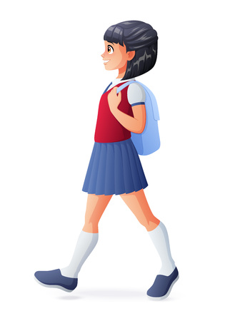 Young cute student girl in school uniform walking with backpack. Vector illustration isolated on white background. Ilustração
