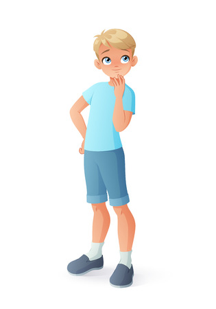 Young curious thinking boy. Cartoon vector illustration isolated on white background. Ilustração