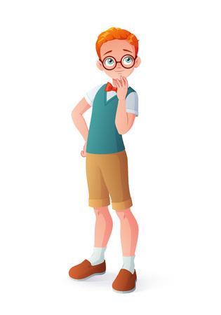 Junger neugieriger intelligenter rothaariger denkender Junge in den Brillen. Karikaturvektorillustration lokalisiert auf weißem Hintergrund.