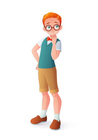 Young curious smart redhead thinking boy in eyeglasses. Cartoon vector illustration isolated on white background.