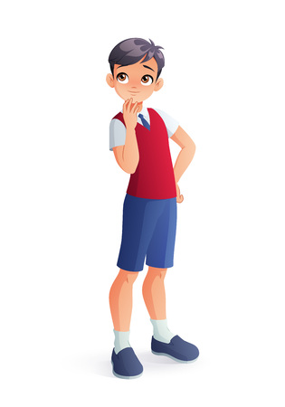 Curious young thinking Asian student boy. Isolated vector illustration. Ilustração