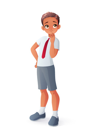 Curious young thinking Indian student boy. Isolated vector illustration.