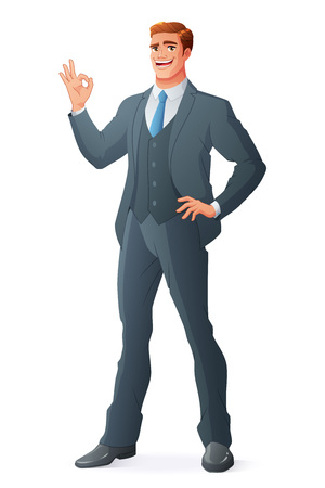 Happy young businessman showing OK hand sign. Full length cartoon style vector illustration isolated on white background EPS10. Vectores