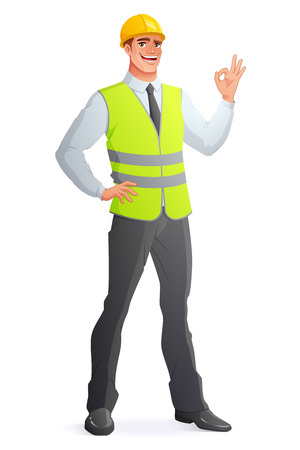 Smiling engineer in vest and hard hat showing OK hand sign gesture. Full length cartoon style vector illustration isolated on white background EPS10. Ilustração