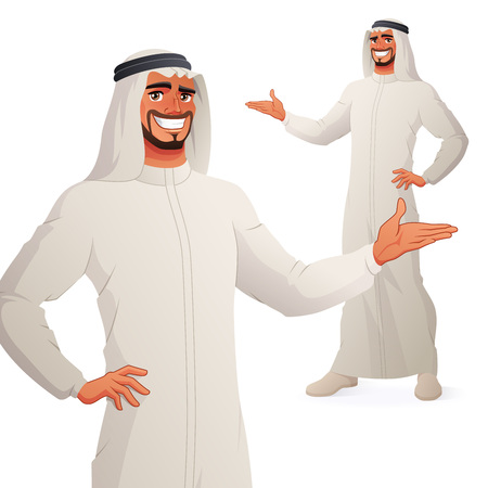 Arab business man presenting. Isolated vector illustration.