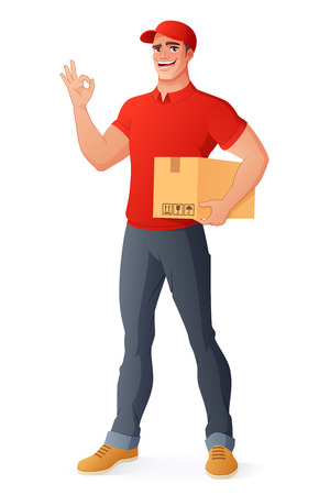 Smiling courier delivery service man in uniform holding box and showing OK hand sign gesture. Full length cartoon style vector illustration isolated on white background EPS10. Illustration
