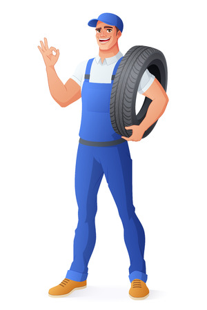 Auto mechanic car service worker in uniform overalls holding tire and showing OK hand sign gesture. Full length cartoon style vector illustration isolated on white background EPS10.