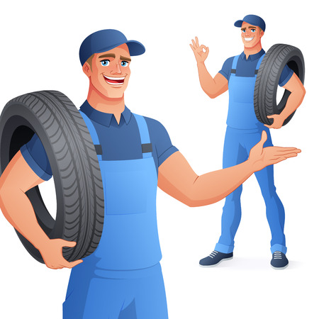 Auto mechanic car service worker in uniform overall holding tire and showing OK hand sign gesture. Full length cartoon style vector illustration isolated on white background EPS10.