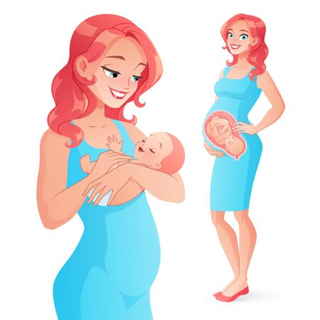Pregnancy before and after. Happy pregnant woman and mother holding her newborn baby. Vector illustration isolated on white background.
