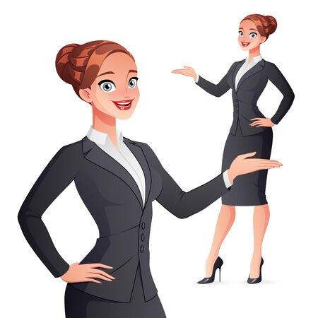Cheerful smiling businesswoman presenting. Isolated vector illustration.