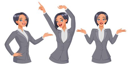 Pretty businesswoman showing, dancing, shrugging. Full size under clipping mask. Set of vector illustrations. 矢量图像