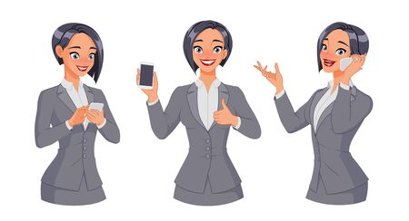 Woman texting, calling, showing thumb up with smartphone. Full size under clipping mask. Set of vector illustrations.