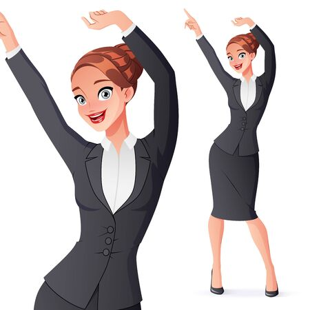 Happy businesswoman dancing in office wear. Isolated vector illustration.