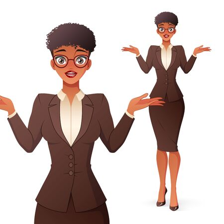 Confused black businesswoman in glasses shrugging shoulders. Isolated vector illustration. 矢量图像