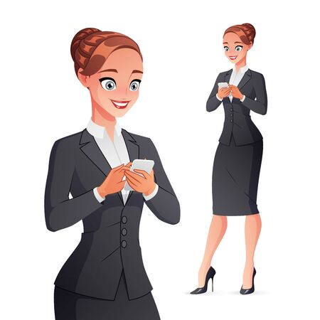 Pretty smiling businesswoman texting on smartphone. Isolated vector illustration. Ilustración de vector