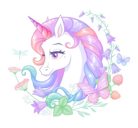 Beautiful white unicorn with pink horn surrounded with flowers and butterflies. Isolated vector illustration.