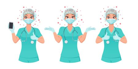 Medical nurse in mask, cap and gloves shows smartphone screen, thumbs up and shrugs shoulders. Protection from coronavirus. Full size isolated vector illustration under clipping mask.