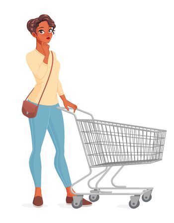 Thinking young woman with hand on her chin standing with shopping cart. Vector illustration isolated on white background.