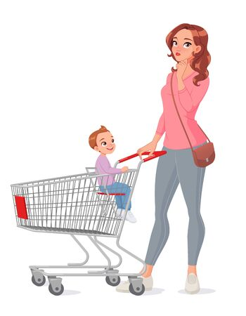 Thinking mother with son sitting in shopping cart. Isolated vector illustration.