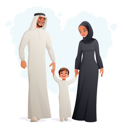 Happy Arab family holding hands and walking. Isolated vector illustration.