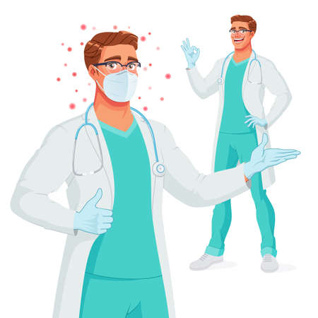 Smiling doctor in mask, gloves presenting, showing thumb up and OK. Protection from Coronavirus. Vector illustration.