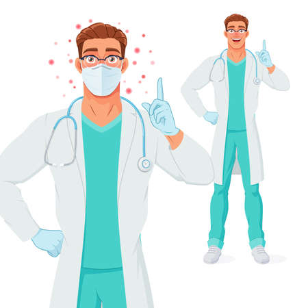 Doctor in mask, gloves pointing finger up to give advice. Protection from Coronavirus. Vector illustration.