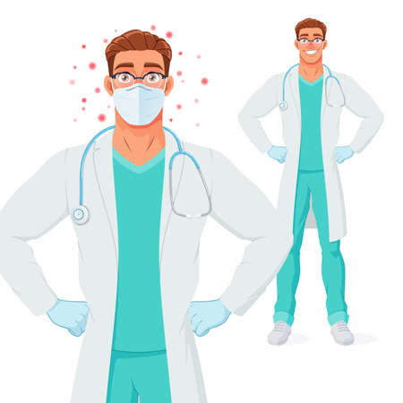 Doctor in mask and gloves protected from coronavirus. Vector illustration. Иллюстрация