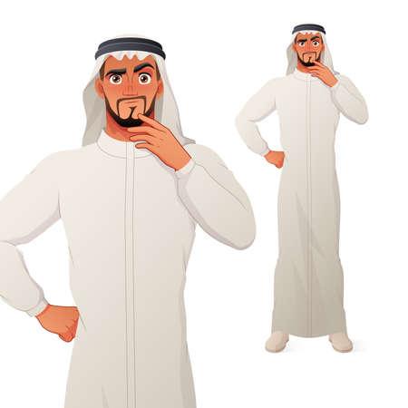 Arab man thinking with hand on chin. Vector cartoon character.