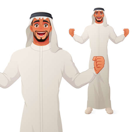 Excited Arab man celebrating success with raised hands and wide smile. Vector cartoon character. Иллюстрация