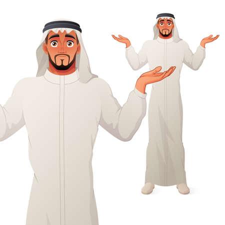 Questioning Arab man shrugging shoulders. Vector cartoon character.