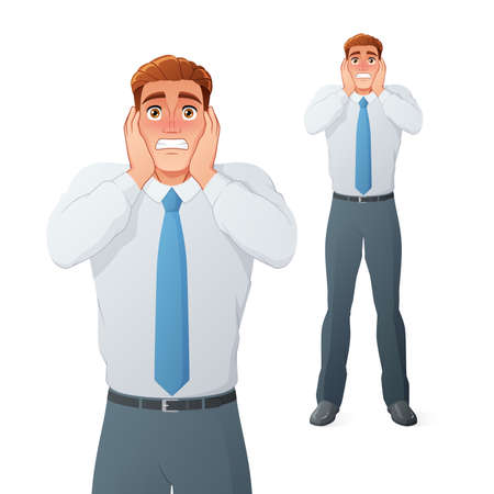 Scared businessman holding his head in panic. Isolated vector illustration.
