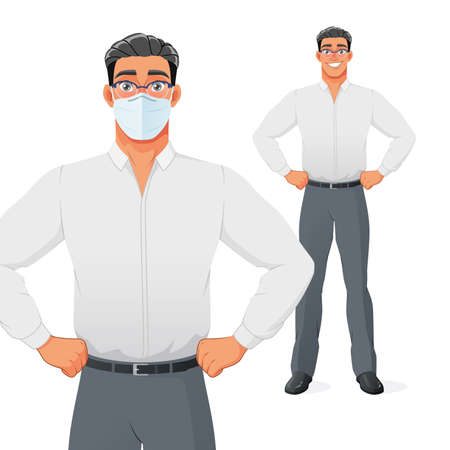 Young businessman in face mask. Isolated vector cartoon character. Иллюстрация