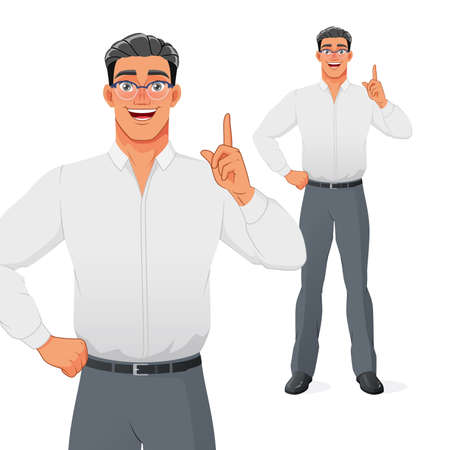 Young businessman pointing finger up to give advice or recommendation. Isolated vector cartoon character.
