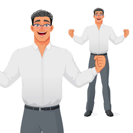 Excited businessman celebrating success with raised hands and wide smile. Isolated vector cartoon character.