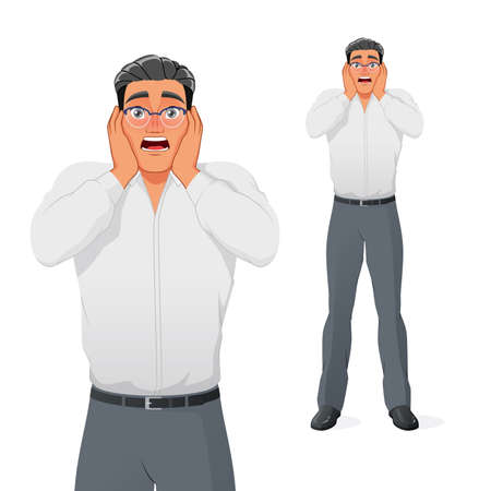 Terrified young businessman holding his head in panic. Isolated vector illustration.