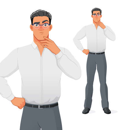 Puzzled businessman thinking with hand on chin. Isolated vector cartoon character. 矢量图像