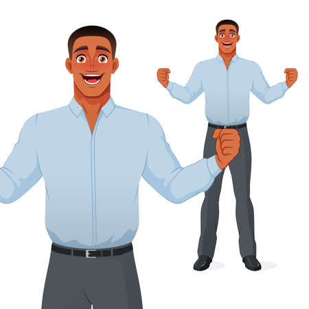 Excited black businessman celebrating success with raised hands and wide smile. Isolated vector cartoon character.