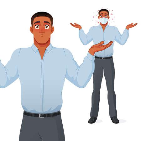 Questioning businessman shrugging shoulders. Vector cartoon character.